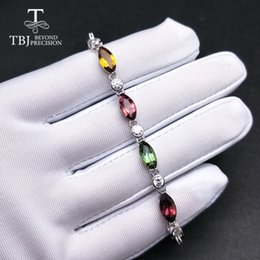 Wholesale TBJ natural fancy color tourmaline bracelet in sterling silver precious gemstone jewelry for girls women as birthday gift