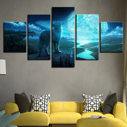 Art Canvas Prints Australia - HD Printed Abstract Wall Art Pictures Frame Poster 5 Pieces Animal Wolf Full Moon Landscape Painting Canvas Home Decoration Room