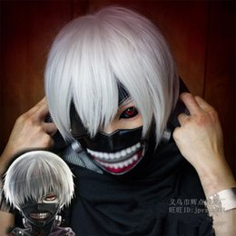 """Wig Short White NZ - Cartoon Tokyo Ghoul Cosplay Synthetic Heat Resistant Hair Wigs 11"""" Short straight Silver-White White Wigs for Women and Men Cartoon Fan"""