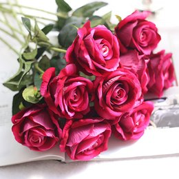 White Rose Arrangements Australia - Artificial Flower Bouquet for Wedding French Rose Fake Flower Arrangement Floral Silk Flower for Home Party Table Decor