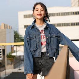 $enCountryForm.capitalKeyWord NZ - 2018 New Arrival Short Big Pocket Female Denim Jacket Single Breasted Slim Casual Female Jackets Women Oversized Jean Coat Blue