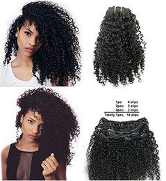 Discount african american hair extensions - Brazilian Remy Virgin Hair Kinky Curly 3B 3C Natural Color African American Clip In Hair Extensions 120Gram 7Pcs Set(16&