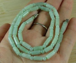 Bamboo Necklace Beads Australia - Green Jade Bead Necklace Chinese Natural Grade A Type A Jade Jadeite B1741