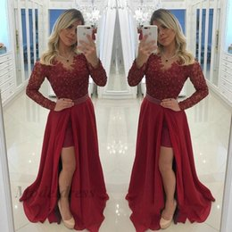 Petite dinner dresses online shopping - Dark Red Long Sleeve Prom Dresses Lace Tops Appliques Beads Chiffon A Line Side Split Waist Pearls Floor Length Formal Evening Gowns Dinner