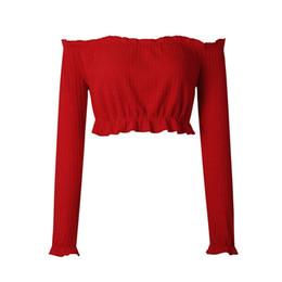 Long sLeeve t shirt wooL online shopping - Cotton Sexy Off The Shoulder Tops For Women T Shirt Female Autumn Winter Fashion Long Petal Sleeve Crop Top Tees Cotton T Shirt
