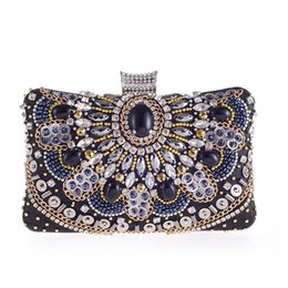 $enCountryForm.capitalKeyWord NZ - Hand-beaded bracelets diamond Women Beaded Clutches Wedding Bag Evening Bags With Stone Black Purse Elegant Ladies Day Clutches