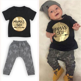 03500d417230 2PCS Children Outfit Sets Baby Boy MaMas Boy Printing Short Sleeve Tops  Golden T Shirt + Pants Suit Hot Selling Summer Clothes