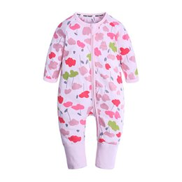 baby rompers print UK - Newborn Baby Boy Clothes Infant Romper Long Sleeve Flower Print Baby Girl Rompers Jumpsuit Pajamas Baby Clothing