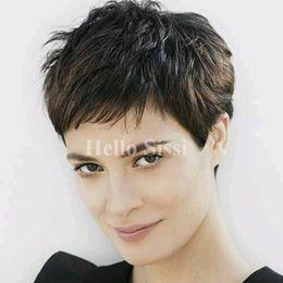 $enCountryForm.capitalKeyWord Australia - Top Grade Glueless Full Lace Rihanna Chic Cut Short real Hair Wigs Unprocessed Brazilian Hair Wigs For Black Women