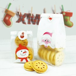 Discount biscuit snack bags - 500pcs lot Matte Transparent snowmen biscuit food package BOPP plastic bag snack packing baking pastry bag