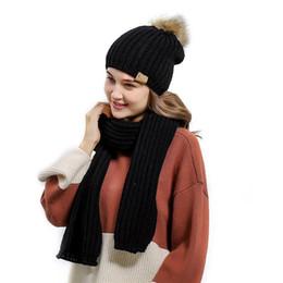 $enCountryForm.capitalKeyWord NZ - New Winter Women Wool Knitted Beanie Keep Warm Hat Scarf Set Fashionable Hot Sale Fur Pompoms Hat