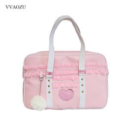 $enCountryForm.capitalKeyWord UK - Japan Harajuku Kawaii Shoulder Bag Women JK Lace Ruched Handbag Lolita Transparent Heart Hand Bag with Plush Pendant