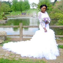 wedding gowns mermaid sleeve UK - Vintage Beaded Lace Mermaid Wedding Dresses with Long Sleeve Plus Size White Ruffled Tulle Country Style African Bridal Gowns with Buttons