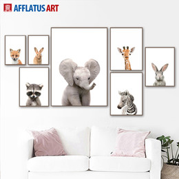 zebra print canvas wall art 2019 - Wall Art Canvas Painting Nordic Posters And Prints Cartoon Zebra Deer Rabbit Canvas Poster Wall Pictures Living Kids Roo