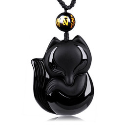 natural stone amulets 2019 - Charming 43x38mm Chinese Handwork Black Obsidian Hand-Carved Lucky Fox Amulet pendant necklace woman man's Jewelry