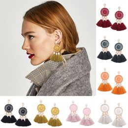 stud drop tassel Australia - 7 Colors Circle Tassel Earrings Long Fringe Studs Layered Ball Dangle Ear Drop 3 Thread Chandelier Jewelry Support FBA Drop Shipping H157R