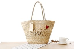 straw hands bag NZ - Wholesale 2018 fashion hand embroidered sequin letter shoulder straw bag Summer photo woven bag Beach casual handbag