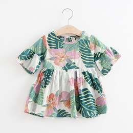 73c6926f6524 (5Pcs Lot) Super Deal Summer Cotton Baby Dress Princess Dress Ruffle Sleeve  Cute Fashion Baby Infant Floral Printed Dresses