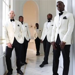 Black coat pant for men online shopping - Classy Groom Tuxedos Wedding Suits Groomsmen Best Man For Man Prom Suits Black Pants White Coat Jacket Pants Bow Tie Custom made Plus size