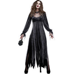 $enCountryForm.capitalKeyWord UK - 2018 New Zombia Bride Costumes Black Women Dresses Cosplay Halloween Costume Party Frightening Clothes Photo Art Suit Hot Selling