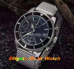 mens mesh band watches Australia - New Ocean Heritage A2337016 Black Bezel Black Dial Quartz Chronograph Mens Watch Mesh Steel Band New Stopwatch 6 Color Watches Hi_watch A45a