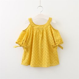girls white lace blouses Canada - Girls Off Shoulder Summer Lace Embroidered Cute Tees Bow Tops Green Yellow and White Color Sweet Cotton Blouse B11