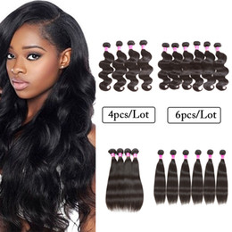 cheap human hair extensions 24 inch Canada - Hot Sale Malaysian Peruvian Virgin Human Hair Wefts Body Wave Straight 4 Bundle OR 6 Bundle Cheap Human Hair Extension