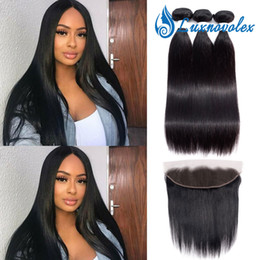 Malaysian Straight Hair Weave Australia - Malaysian Straight Hair Weave Bundles with Lace Frontal Closure Unprocessed Human Hair 3 Bundles With Frontal Natural Color Hair Extensions