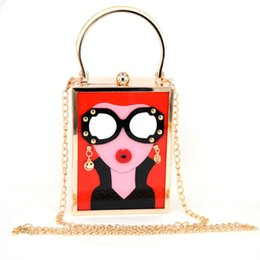 Brand Luxury White Acrylic Evening Bag Women Funny Cute HandBags Glasses  Girls Chain Day Clutch Vintage Red Mini Party Purse aa9717296f8d