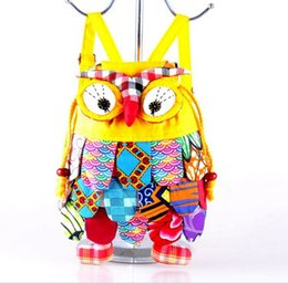 China Hot Selling Chinese Ethnic Character Cloth Handmade Preschool Baby Owl Colorful Stitch Preschool baby Owl Backpack Fashion Bag 120pcs suppliers