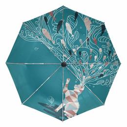 $enCountryForm.capitalKeyWord UK - Cat Painting Folding Sunny and Rainy Umbrella Fully-automatic Outer Black Coating UV Protection Cat's Mind Eating Fish Umbrellas