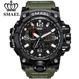 Wholesale SMAEL Brand Men Sports Watches Dual Display Analog Digital LED Electronic Quartz Wristwatches Waterproof Swimming Military Wrist Watch