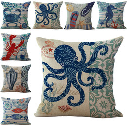 Chinese  Sea Life Starfish Conch sea horses Octopus Pillow Case Cushion cover Square linen cotton Pillowcase Cover Home sofa Decor 240481 manufacturers