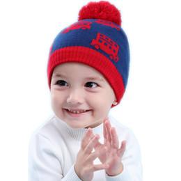 $enCountryForm.capitalKeyWord Australia - baby & kids boys fashion rib hem truck print casual knitted beanie hats children boy fall winter cute hat caps