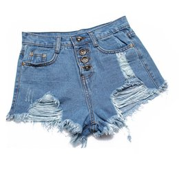 China Hot sale European American summer wind female blue high waist denim shorts women worn loose burr hole jeans shorts plus size supplier jeans wear white suppliers