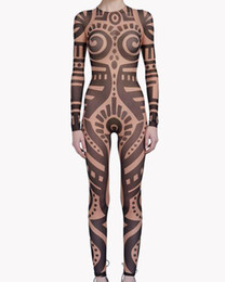 frauen berühmtheit overall großhandel-Sommer frauen vintagetribal tattoo drucken mesh jumpsuit curvy afrikanische lamway Sheer Body Celebrity Jumpsuit Catsuit