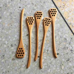 Ingrosso 100 pezzi di legno naturale cucchiaio di miele server bastone sano agitatore di miele in legno agitare casa ristorante forniture per caffè durevole cucina sala da pranzo bar