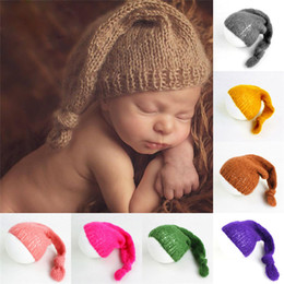 mohair crochet NZ - Soft Mohair Baby Hat Newborn Photography Accessories Crochet Knot Cap Infant Photography Props 16 colors Newborn Photography Accessories