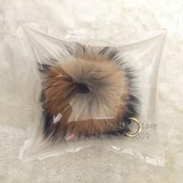 Wholesale 15cm Fluffy Raccoon Fur Ball Keychain Real Fur Key Chains Pompom Keychain Pompon Keyring Charm Women Bag Pendant