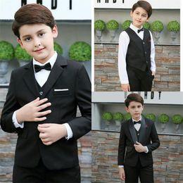 boys suits wedding gold 2019 - Gentlemen Black Boy Formal Wear Two Botton Custom Made Slim Fit Wedding Evening Party Tuexdos Suits discount boys suits
