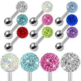Anillo de Lengua Promoción Nail Titanio Pendientes Lengua Pin Señora Full Diamond Ball Anti Alergia joyería de los hombres