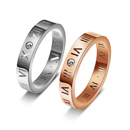 Chinese  Stainless steel ring rose gold ring couple Rome digital personality jewelry trade. manufacturers