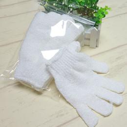 Guanti da doccia in nylon bianco pulizia corpo guanto da bagno esfoliante cinque dita bagno guanti da bagno forniture per la casa T2I337 in Offerta