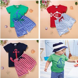 $enCountryForm.capitalKeyWord NZ - 2018 kids infants summer short sleeve t shirt shorts suit stripe short pants with pirate ship anchor fish boat print tees clothing sets