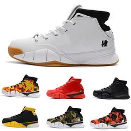 best sneakers 24ae1 b2b2b Hohe Qualität Basketball-Schuhe Kobe 1 Schwarz Weiß Rot Gelb KOBE 1s  Sneakers Sportschuhe der Männer US-Größe 7-12 Freies Verschiffen