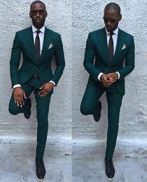 Army Green Suit Australia - Dark Green Slim Men Suits 2017 Handsome Mens Wedding Suits Groomsmen Groom Tuxedos Party Prom Business Suits (Jacket+Pants+Tie) S18101903
