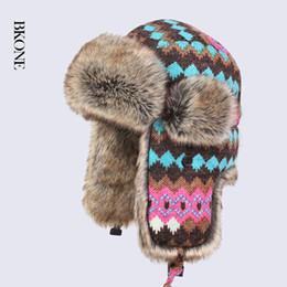 12568f013ff Wholesale- Russian Winter Hats for Women Waterproof Warm Faux Rabbit Fur  Hat Men s Bomber Hats Artificial Fur Wool Trapper Hats