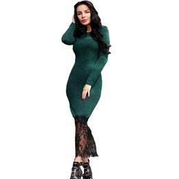 86cccf217b Sexy Women Lace Hem Dress Long Sleeve High Split Mid-calf Dress Side Slim Casual  Party Bodycon Dress Pack Hip Low Cut Vestidos
