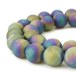 blue agate druzy beads UK - 6MM-12MM Round Dyed Electroplated Druzy Agate Quartz Natural Crystal Gemstone Beads For Necklace Pendant Jewelry Make Connector