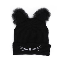 7efedfbca09 Warm Winter Hat Fashion Lovely Cat Ear Hat For Women Ins Hot Harajuku  Knitted Hats Skullies Female Beanies Bonnet Faux Mink